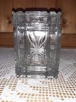 Öntött üvegdoboz, fedeles tároló edény 13x9x9 cm