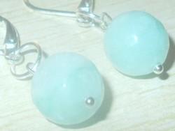Akvamarin fazettált csiszolású Gyöngy 925 ezüst kézműves Fülbevaló