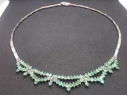 Természetes Smaragd Ezüst Nyaklánc