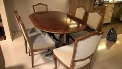 Neobarokk stílusú étkező garnitúra, asztal + 6 szék