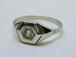 Gyönyörű antik art deco brill 18kt  fehér arany gyűrű