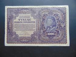 1000 marek 1919 Lengyelország Nagy méretű bankjegy