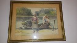 Vízfesték halászok kép festmény