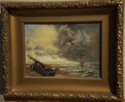 Olvashatatlan jelz. (1900 k.) : Viharos tengerpart
