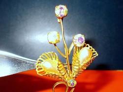 Csepp Gyöngy - Ékköves Tűz Aranyozott Virág Kitűző 6 cm!!