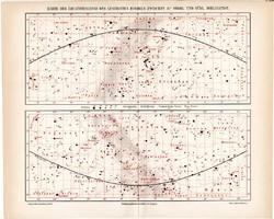 Csillagos ég egyenlítői övezetének térképe 1906, eredeti, német, csillagászat, égbolt, csillag, ég