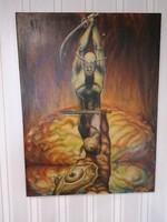 Jelzett olaj-vászon festmény ördögi alak