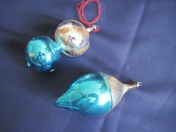 Régi üveg karácsonyfadísz  2 db. 11 x 5 cm