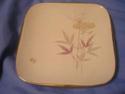 N4 Antik hibátlan aranyozott  Bavaria kínáló süteményes tál,virág díszes 25.5 cm