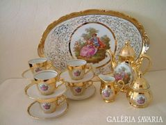 Luxury gold sculpted porcelain full coffee set, cup, spout, sugar holder, etc. + Tray Option