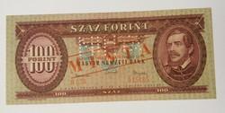 100 Forint 1962 MINTA felülbélyegzés és perforáció, forgalmi számozás.