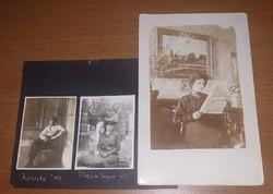 1917-ben készült, gyászruhás hölgyet ábrázoló, 3 db antik, vintage fotó, képeslap egyben eladó