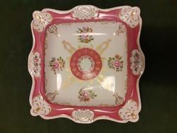 Hollóházi, nagyméretű barokk mintás, szögletes asztalközép, kínáló