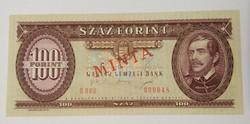 100 Forint 1995 MINTA felülbélyegzés és perforáció,alacsony sorszám. Ritka!
