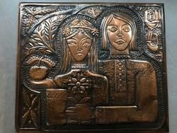 Bronz falikép, kézműves darab, 33 x 28 cm