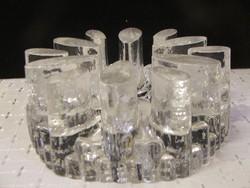 Art Deco vastag üveg gyertyatartó,mécsestartó