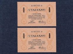 Magyarország 2 db UNC sorszámkövető a korona utalvány / id 14113/