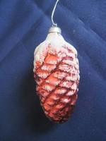 Régi üveg toboz karácsonyfadísz 8,5 x 3,5 cm