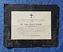 1909 özv. leleszi Kovách Gáborné szül. Kiss Alojzia gyászjelentés