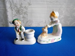 2 db régi német porcelán: kislány kutyával és egy tiroli kisfiú