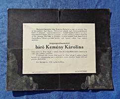 1916 Malomfalva, báró Kemény Károlina gyászjelentés