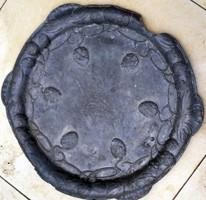 Antik szecessziós ón nagyméretű tál