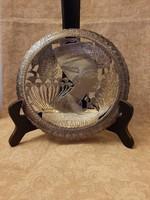 900-as finomságú kézműves ezüst dísztányér 18 cm