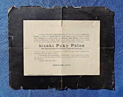 1890 Budapest, bizáki Puky Pálné gyászjelentése