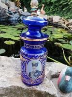 Festett üveg díszüveg  Gyűjtői szépség , paraszti falusi dekoráció