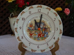 The Bunnykins Teaching Clock   Royal Doulton angol mese jelenetes óra
