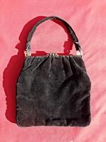 Szuper állapotú, régi fekete bársony, réz záras színházi táska