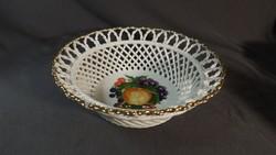 Porcelán kosár  gyümölcs mintával