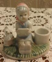 Kislány nyuszival, porcelán figura, jelzetlen