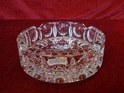 Ólomkristály hamutál, átmérője 14 cm, magassága 4 cm.