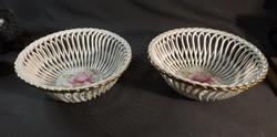 Apullum porcelán kosár, rózsás 2 db