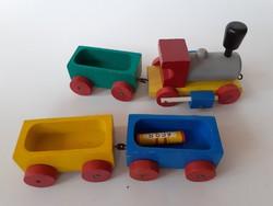 Retro fajáték vonat régi fa mozdony játék