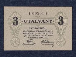 Magyarország UNC 3 korona utalvány Pester Loyd Újságüzem / id 14114/