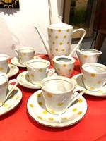 Alföldi sárga  pöttyös kávéskészlet