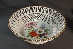 Porcelán kosár virág mintával
