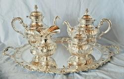Egyedi antik teas/kaves 800as ezust keszlet gr. 4900