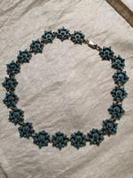 Gyönyörű ezüst kézműves nyakék türkizkövekkel 101 gramm!
