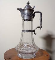 Antik ezüst szerelékes metszett üveg nagy méretű karafa