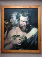 Két szatír - Rubens után - olajfestmény 67,5 x 57,5 cm (kerettel)