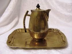 Meseszép, antik, ezüstözött 1,7 literes teás vagy kávés kanna hozzá illő nagy tálcával