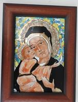 Fehér Margit:   Anya gyermekével _ tűzzománc kép - Nagy méret