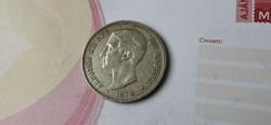1876 ezüst spanyol 5 peseta 25 gramm 0,900