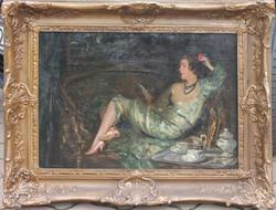 Burghardt Rezső: Kanapén merengő hölgy