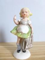 Extrém ritka gyerek figura,porcelán kislány,német figura,táskás kislány