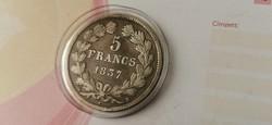 1837 Lajos Fülöp francia ezüst 5 frank 25 gramm 0,900