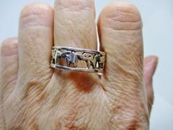 Gyönyörű ezüst gyűrű szerencse hozó elefántokkal